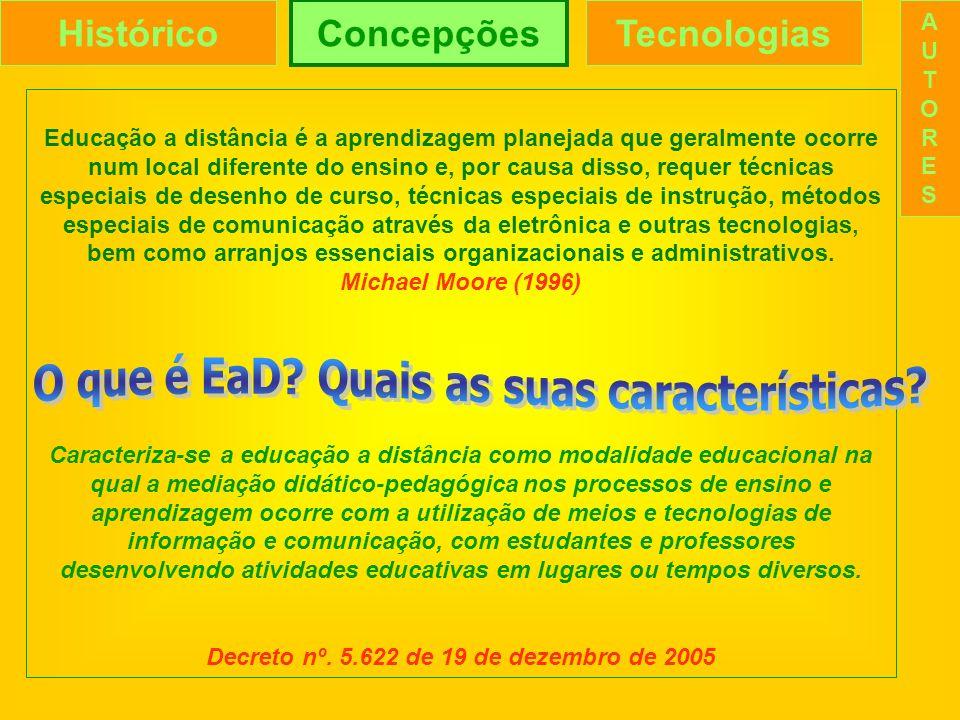 HistóricoConcepçõesTecnologias AUTORESAUTORES Qual o lugar das tecnologias na EaD.