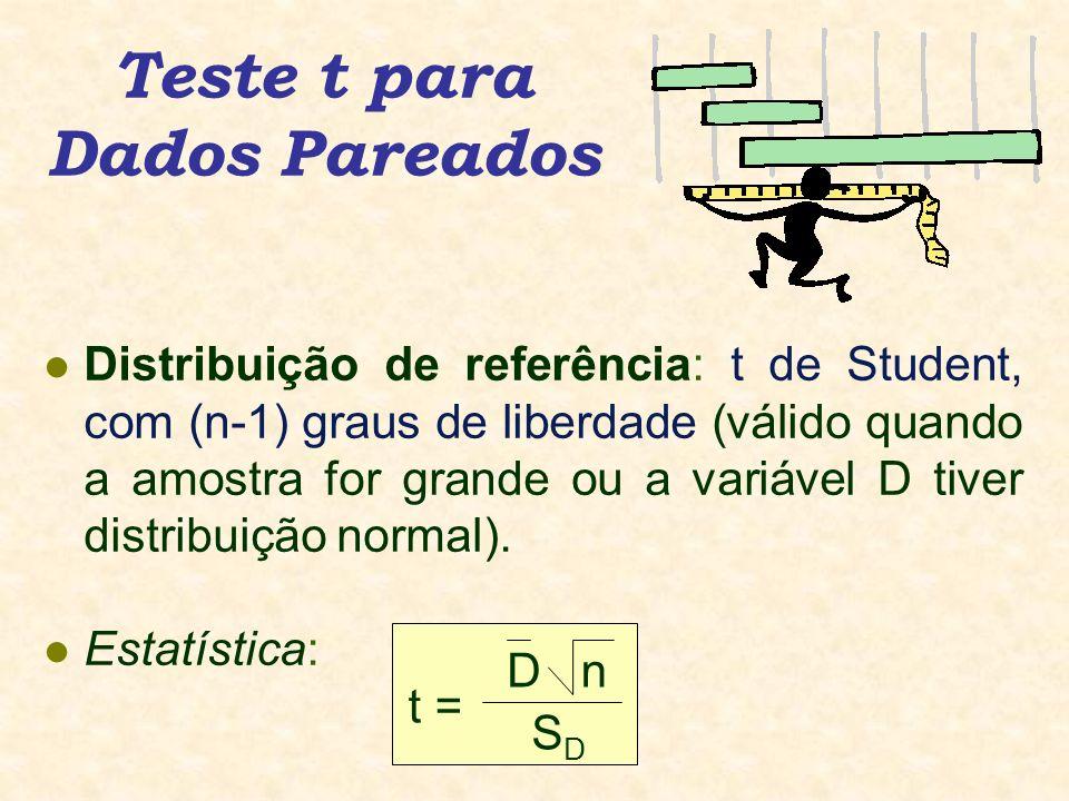Teste t para Dados Pareados l Distribuição de referência: t de Student, com (n-1) graus de liberdade (válido quando a amostra for grande ou a variável