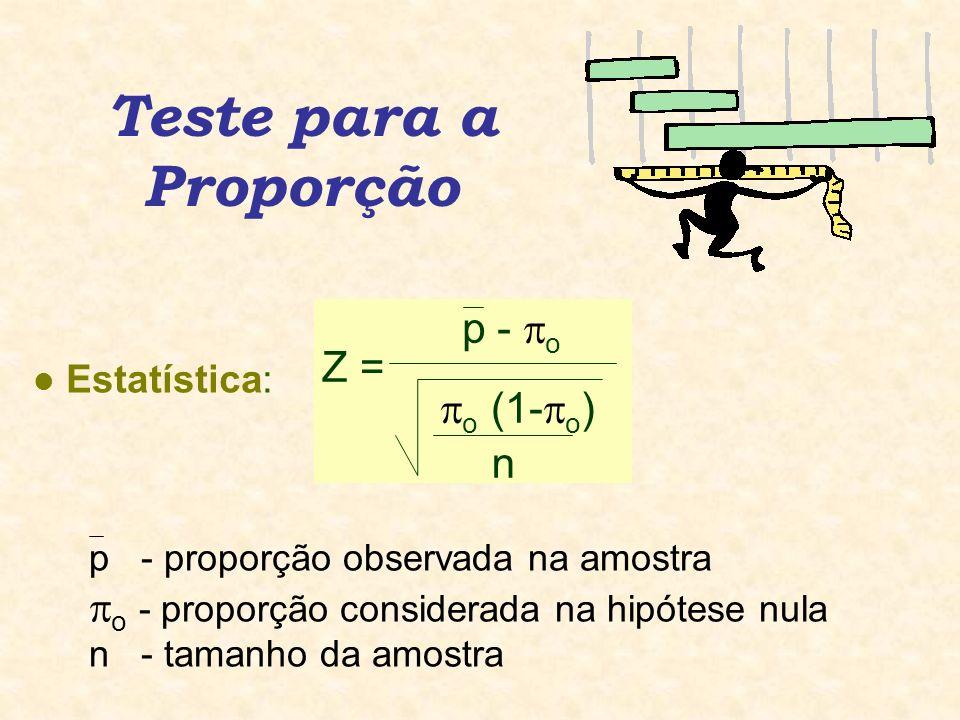 Teste para a Proporção l Estatística: p - proporção observada na amostra o - proporção considerada na hipótese nula n - tamanho da amostra p - o Z = o