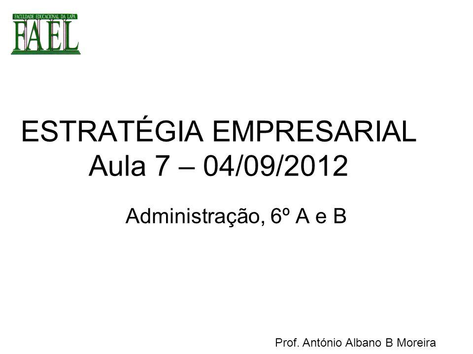 ESTRATÉGIA EMPRESARIAL Aula 7 – 04/09/2012 Administração, 6º A e B Prof. António Albano B Moreira
