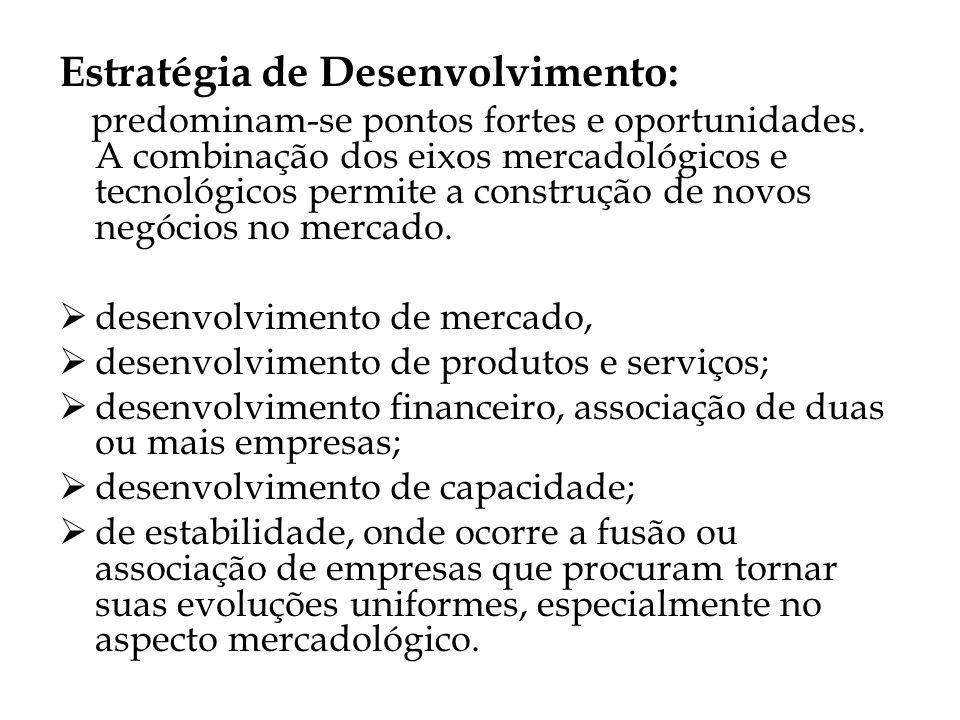 Estratégia de Desenvolvimento: predominam-se pontos fortes e oportunidades. A combinação dos eixos mercadológicos e tecnológicos permite a construção