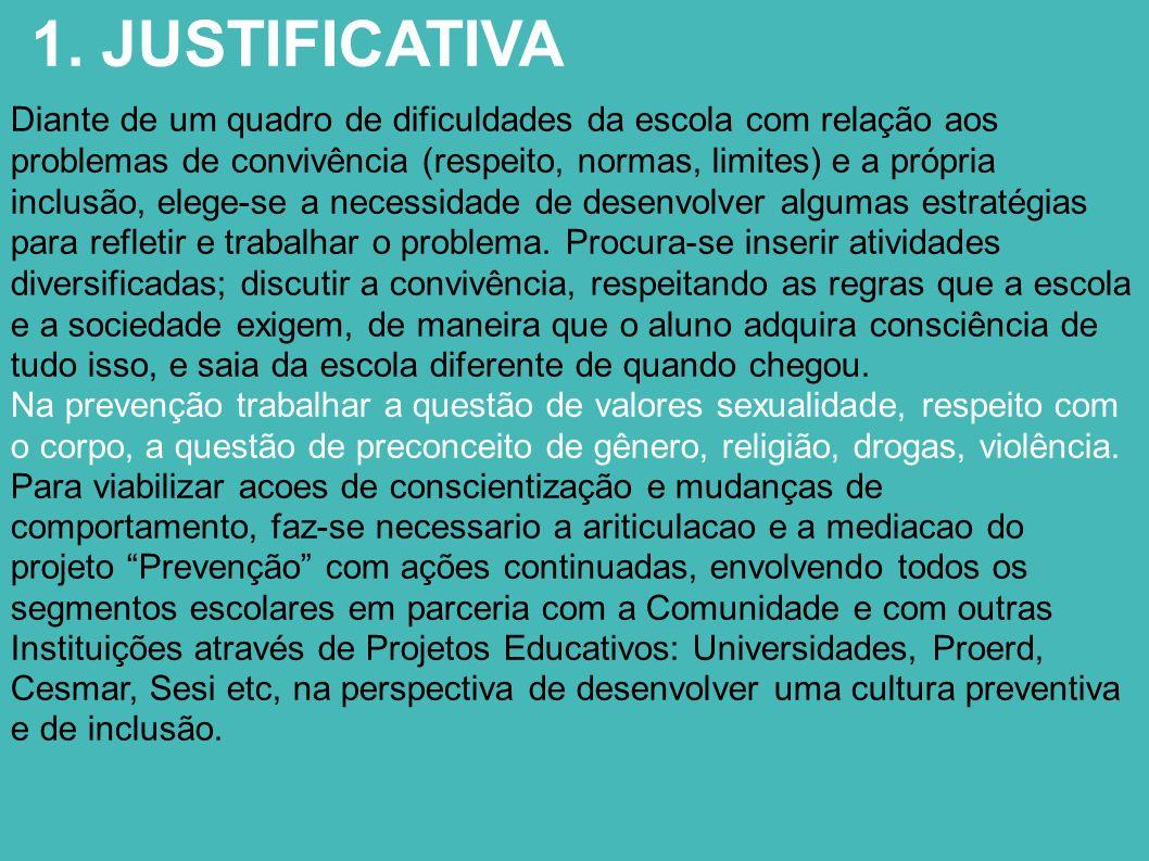 1. JUSTIFICATIVA Diante de um quadro de dificuldades da escola com relação aos problemas de convivência (respeito, normas, limites) e a própria inclus