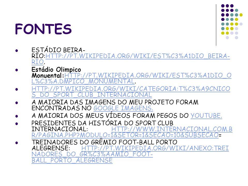 FONTES ESTÁDIO BEIRA- RIO:HTTP://PT.WIKIPEDIA.ORG/WIKI/EST%C3%A1DIO_BEIRA- RIO.HTTP://PT.WIKIPEDIA.ORG/WIKI/EST%C3%A1DIO_BEIRA- RIO Estádio Olimpico M