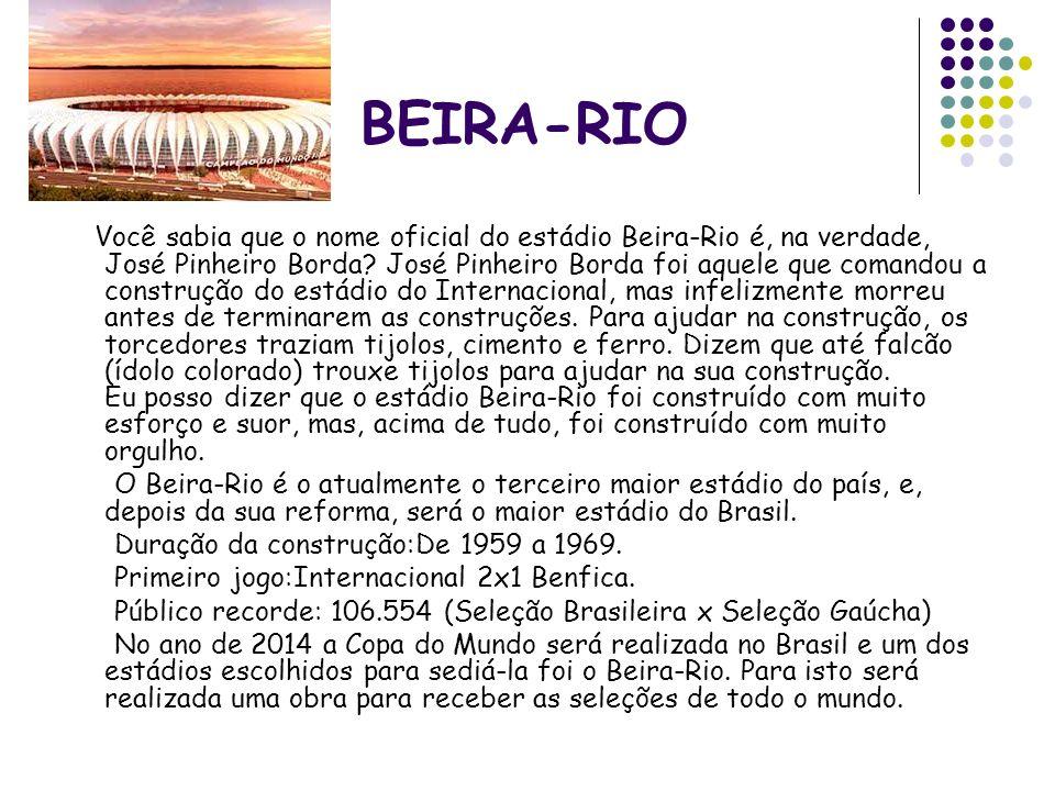 BEIRA-RIO Você sabia que o nome oficial do estádio Beira-Rio é, na verdade, José Pinheiro Borda? José Pinheiro Borda foi aquele que comandou a constru