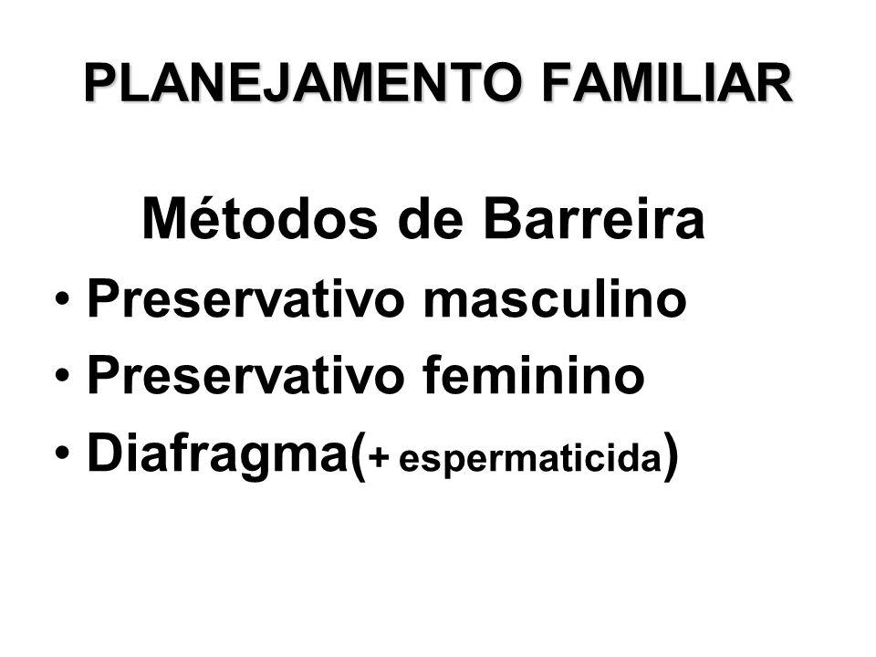 PLANEJAMENTO FAMILIAR Métodos de Barreira Preservativo masculino Preservativo feminino Diafragma( + espermaticida )