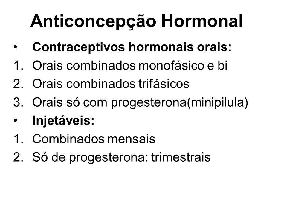 Contraceptivos hormonais orais: 1.Orais combinados monofásico e bi 2.Orais combinados trifásicos 3.Orais só com progesterona(minipilula) Injetáveis: 1