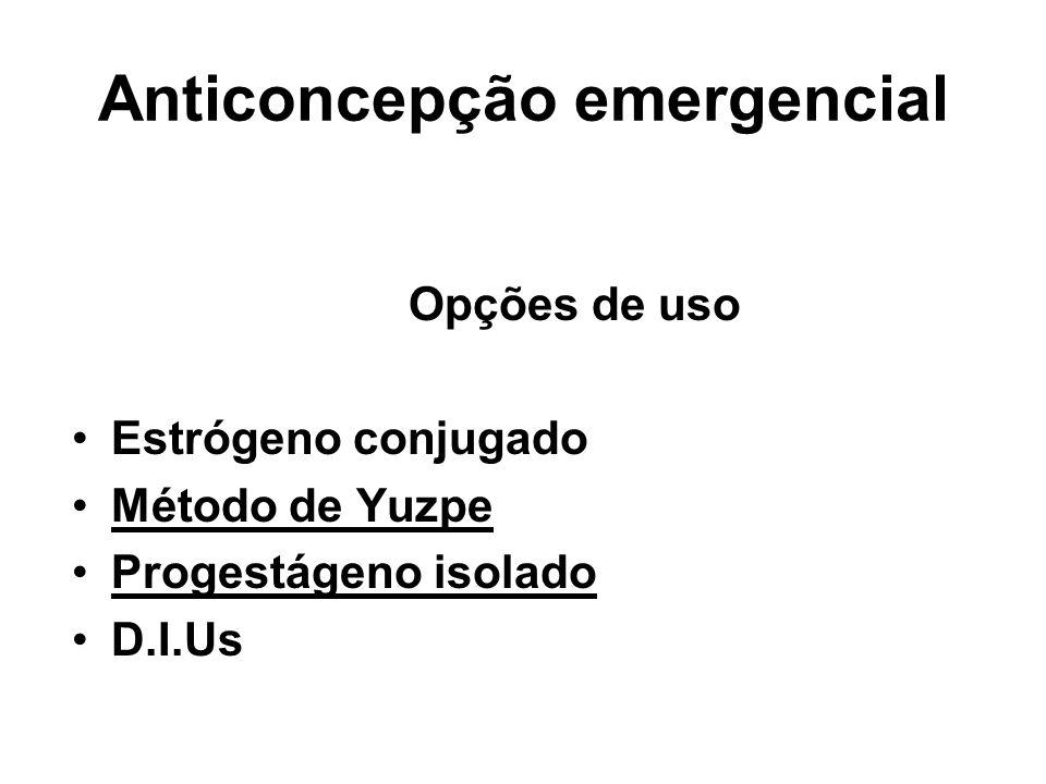 Anticoncepção emergencial Opções de uso Estrógeno conjugado Método de Yuzpe Progestágeno isolado D.I.Us