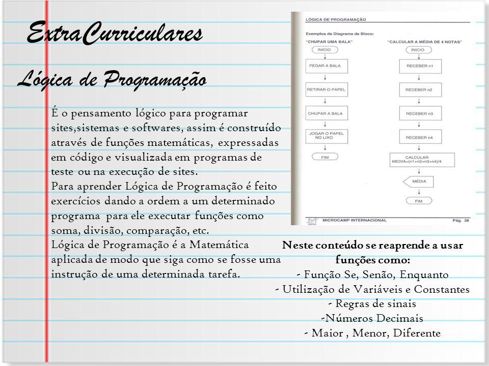 ExtraCurriculares É o pensamento lógico para programar sites,sistemas e softwares, assim é construído através de funções matemáticas, expressadas em c