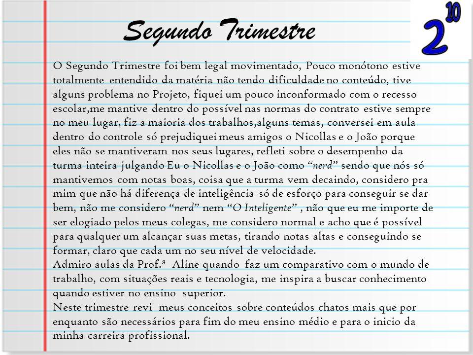 Segundo Trimestre O Segundo Trimestre foi bem legal movimentado, Pouco monótono estive totalmente entendido da matéria não tendo dificuldade no conteú