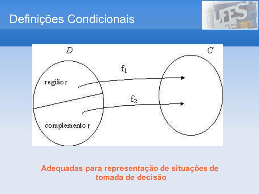 Definições Condicionais Adequadas para representação de situações de tomada de decisão