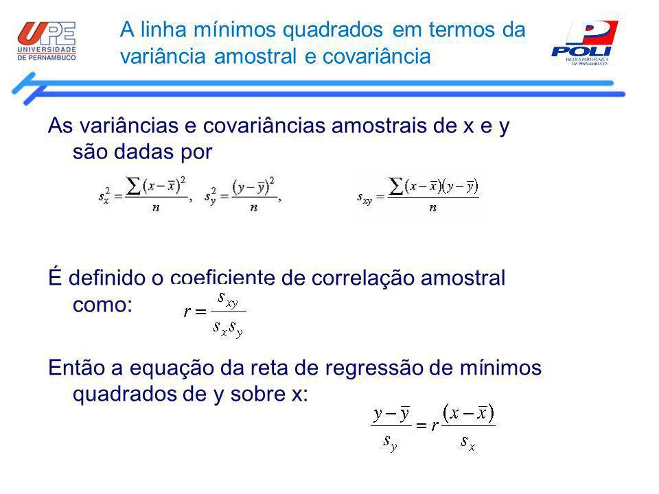 A linha mínimos quadrados em termos da variância amostral e covariância As variâncias e covariâncias amostrais de x e y são dadas por É definido o coe