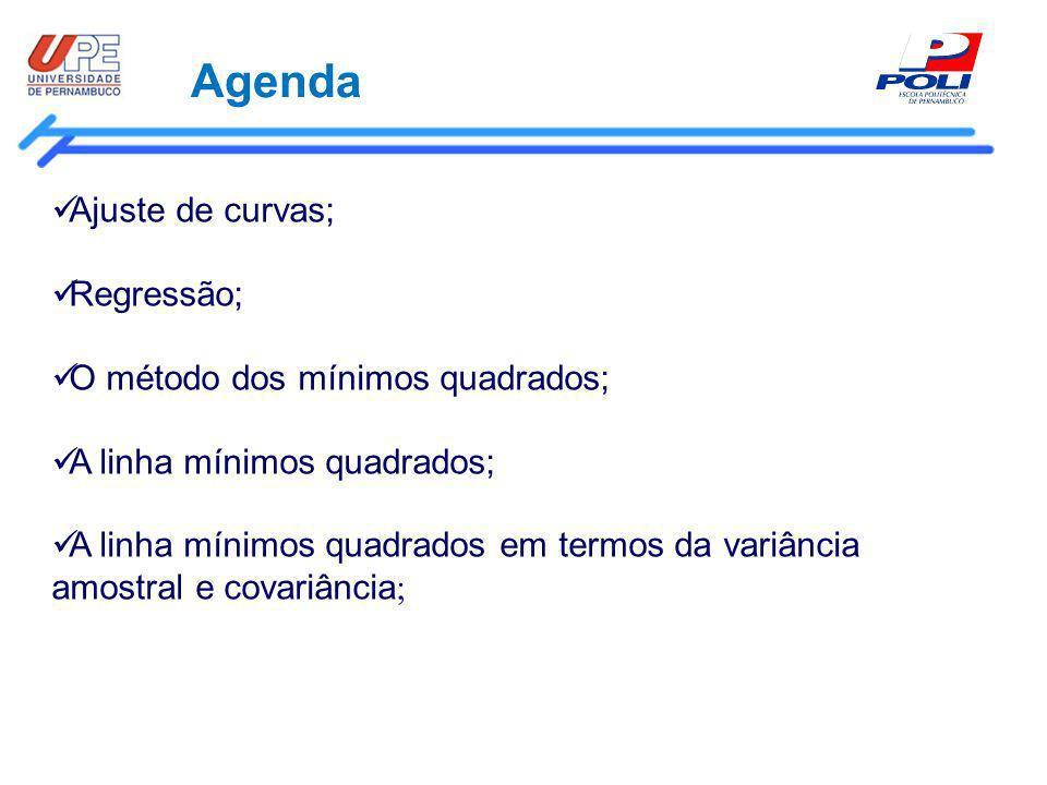 Agenda Ajuste de curvas; Regressão; O método dos mínimos quadrados; A linha mínimos quadrados; A linha mínimos quadrados em termos da variância amostr