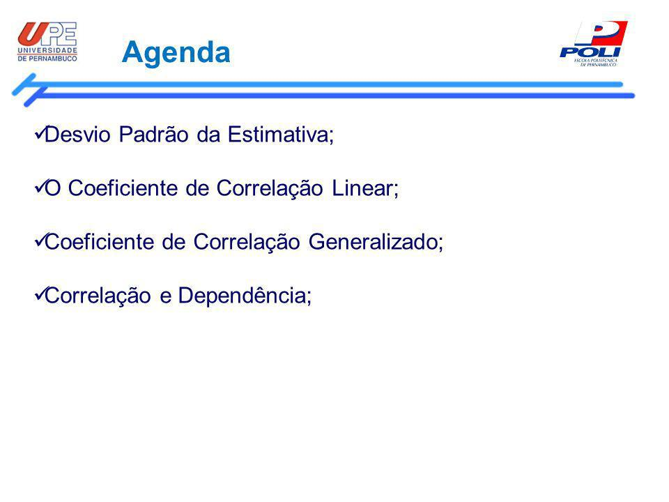 Agenda Desvio Padrão da Estimativa; O Coeficiente de Correlação Linear; Coeficiente de Correlação Generalizado; Correlação e Dependência;