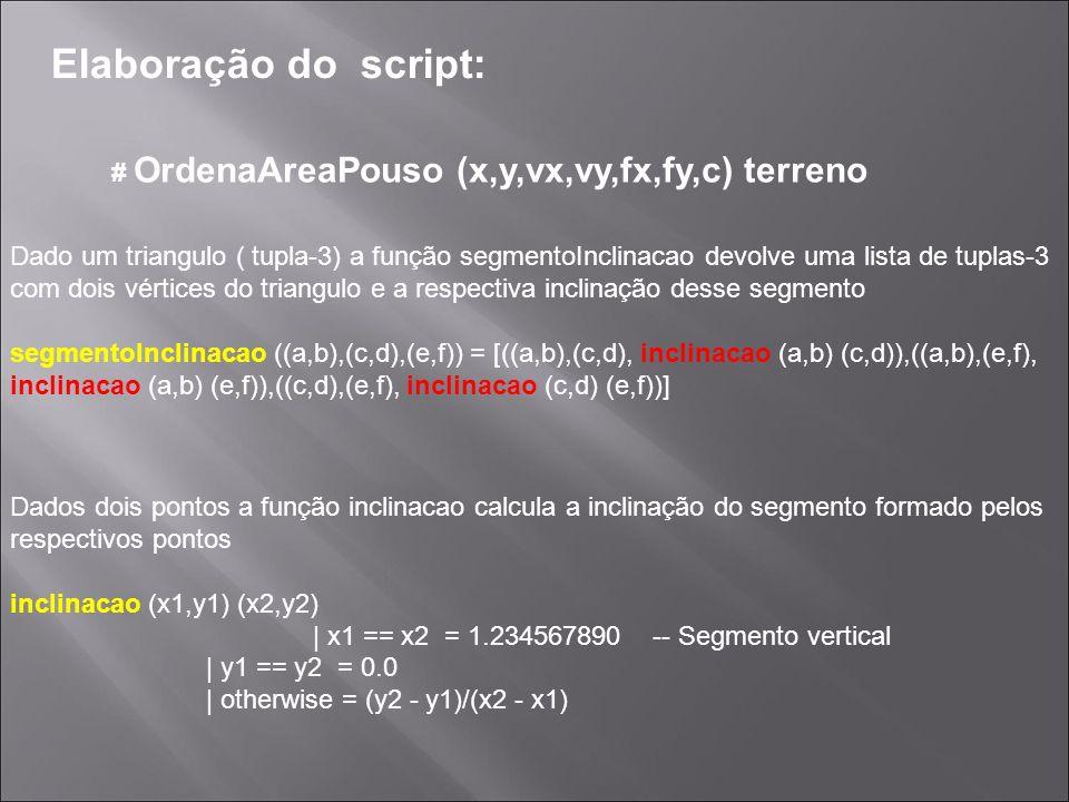 Elaboração do script: # OrdenaAreaPouso (x,y,vx,vy,fx,fy,c) terreno Dados dois pontos a função inclinacao calcula a inclinação do segmento formado pel