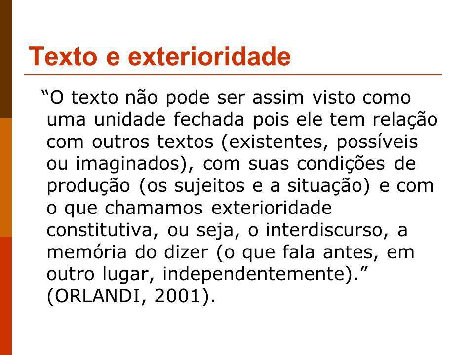 Texto e exterioridade O texto não pode ser assim visto como uma unidade fechada pois ele tem relação com outros textos (existentes, possíveis ou imagi