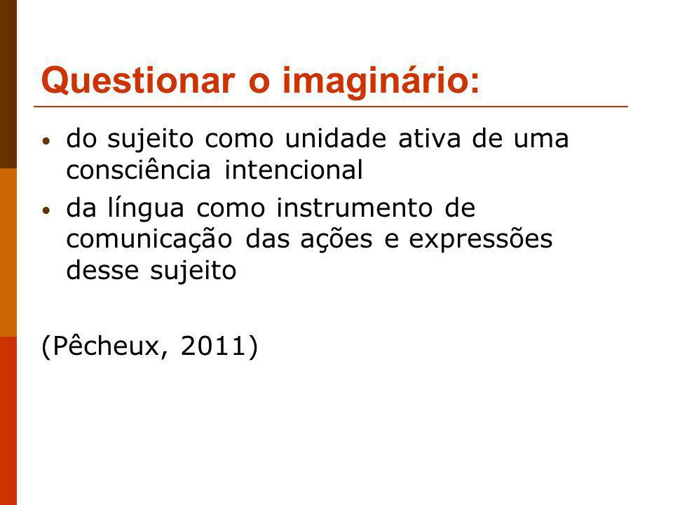 Questionar o imaginário: do sujeito como unidade ativa de uma consciência intencional da língua como instrumento de comunicação das ações e expressões