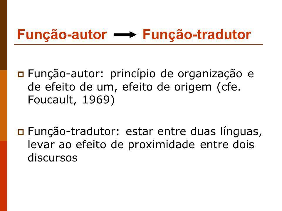 Função-autor Função-tradutor Função-autor: princípio de organização e de efeito de um, efeito de origem (cfe. Foucault, 1969) Função-tradutor: estar e