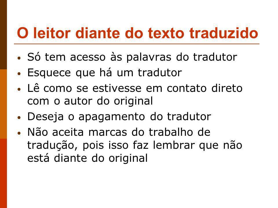 O leitor diante do texto traduzido Só tem acesso às palavras do tradutor Esquece que há um tradutor Lê como se estivesse em contato direto com o autor