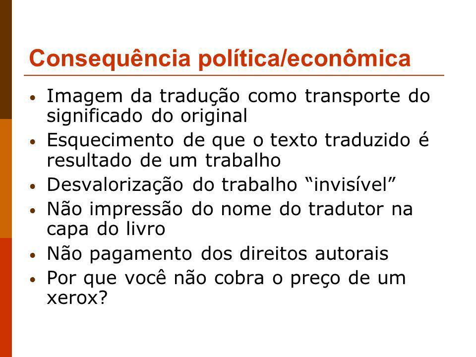 Consequência política/econômica Imagem da tradução como transporte do significado do original Esquecimento de que o texto traduzido é resultado de um