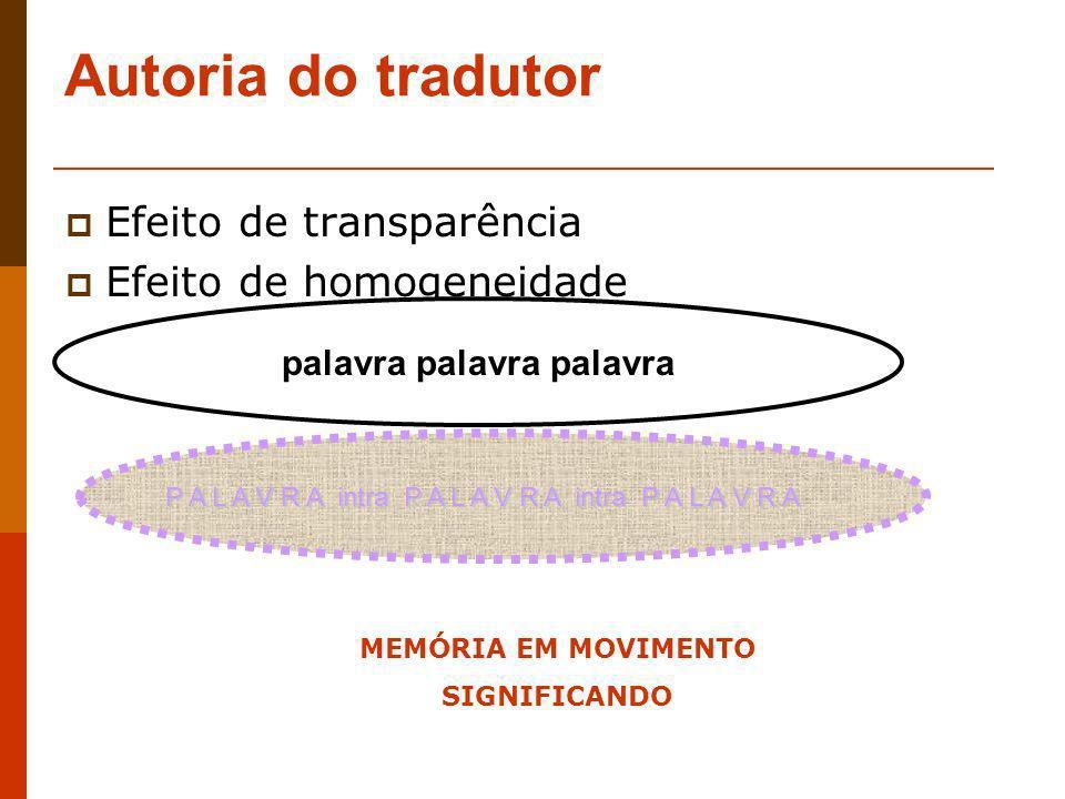 Autoria do tradutor Efeito de transparência Efeito de homogeneidade palavra palavra palavra P A L A V R A intra P A L A V R A intra P A L A V R A MEMÓ
