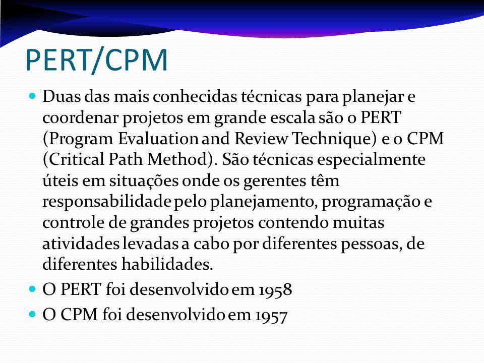 PERT/CPM Duas das mais conhecidas técnicas para planejar e coordenar projetos em grande escala são o PERT (Program Evaluation and Review Technique) e o CPM (Critical Path Method).