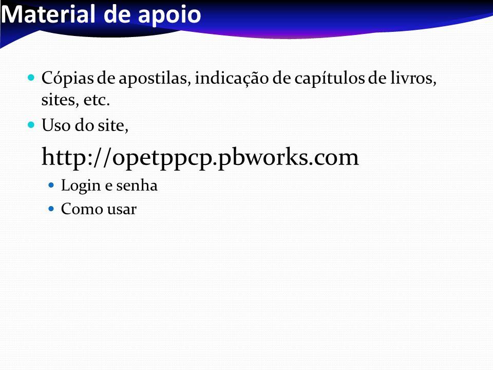 Material de apoio Cópias de apostilas, indicação de capítulos de livros, sites, etc. Uso do site, http://opetppcp.pbworks.com Login e senha Como usar