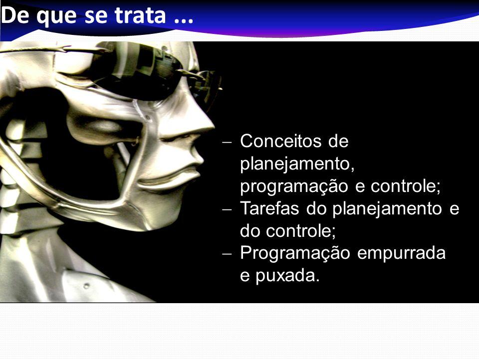 De que se trata... Conceitos de planejamento, programação e controle; Tarefas do planejamento e do controle; Programação empurrada e puxada.