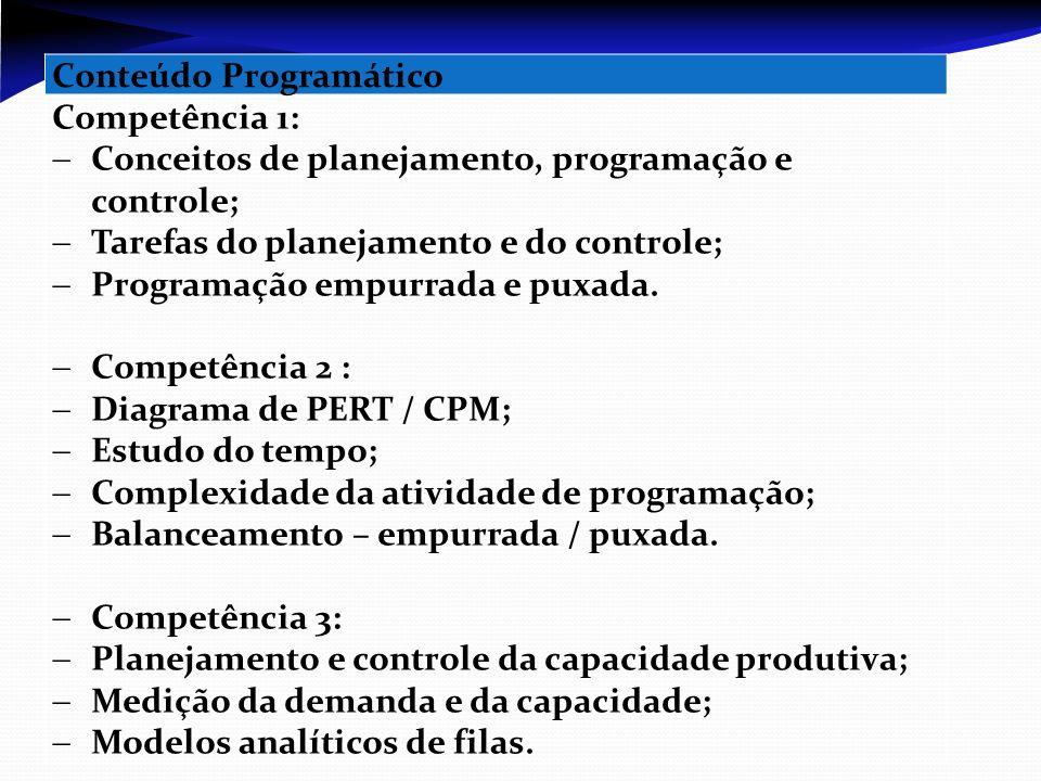 Conteúdo Programático Competência 1: Conceitos de planejamento, programação e controle; Tarefas do planejamento e do controle; Programação empurrada e puxada.