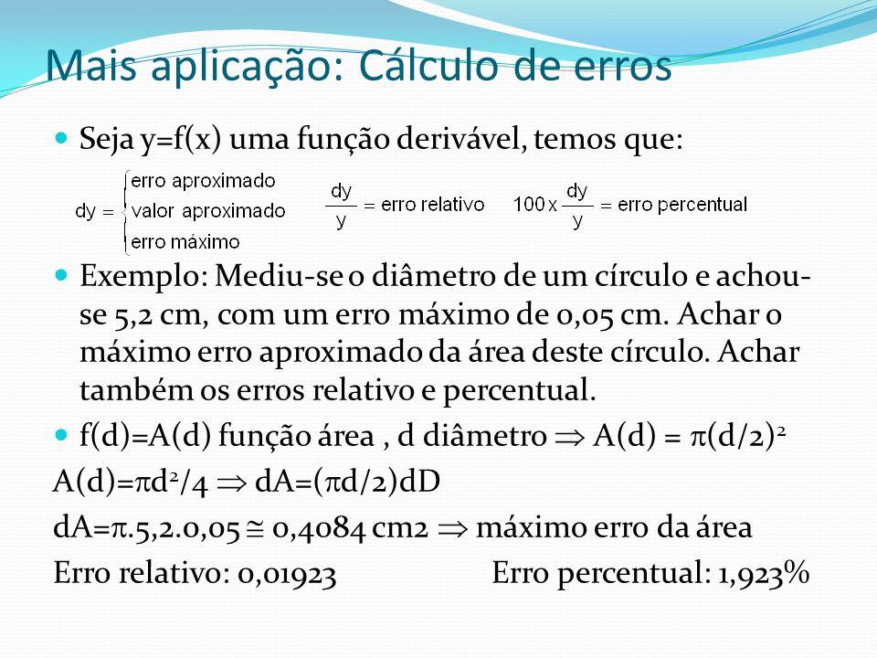 Mais aplicação: Cálculo de erros Seja y=f(x) uma função derivável, temos que: Exemplo: Mediu-se o diâmetro de um círculo e achou- se 5,2 cm, com um er
