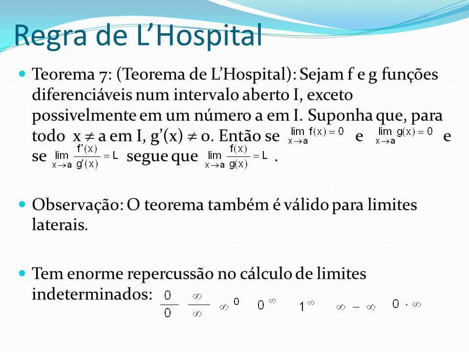 Regra de LHospital Teorema 7: (Teorema de LHospital): Sejam f e g funções diferenciáveis num intervalo aberto I, exceto possivelmente em um número a e
