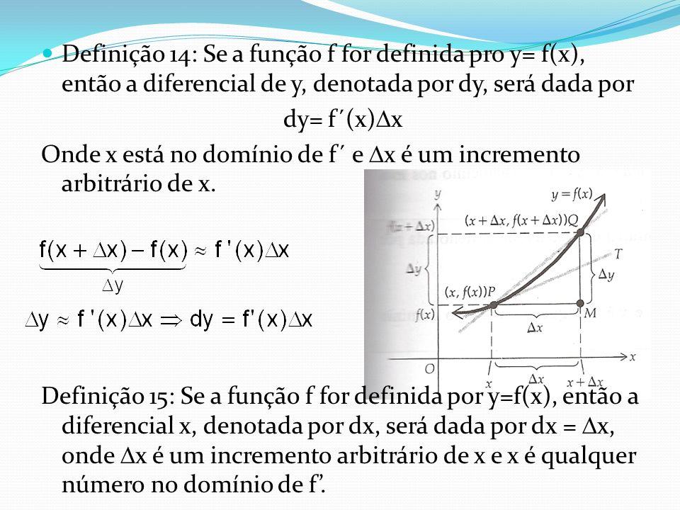 Definição 14: Se a função f for definida pro y= f(x), então a diferencial de y, denotada por dy, será dada por dy= f´(x) x Onde x está no domínio de f
