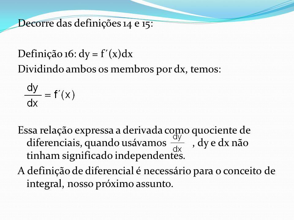 Decorre das definições 14 e 15: Definição 16: dy = f´(x)dx Dividindo ambos os membros por dx, temos: Essa relação expressa a derivada como quociente d