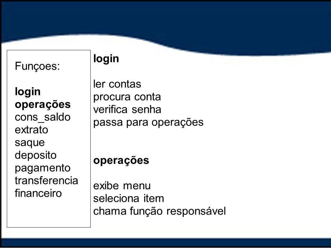 Funçoes: login operações cons_saldo extrato saque deposito pagamento transferencia financeiro login ler contas procura conta verifica senha passa para