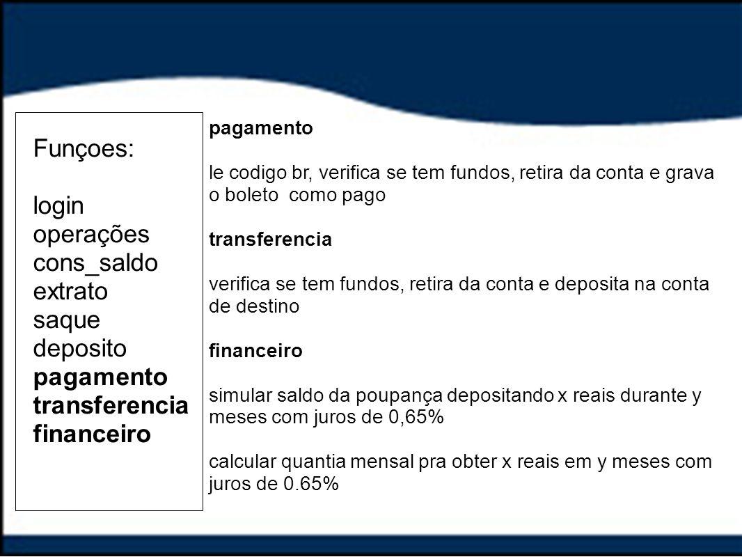 Funçoes: login operações cons_saldo extrato saque deposito pagamento transferencia financeiro pagamento le codigo br, verifica se tem fundos, retira d