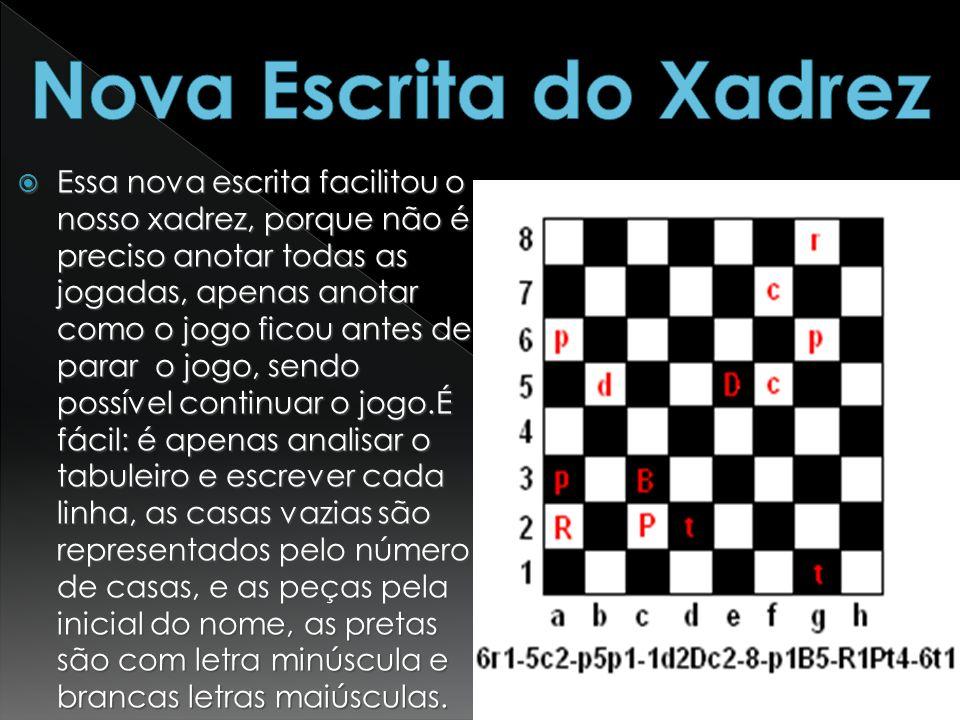 Essa nova escrita facilitou o nosso xadrez, porque não é preciso anotar todas as jogadas, apenas anotar como o jogo ficou antes de parar o jogo, sendo