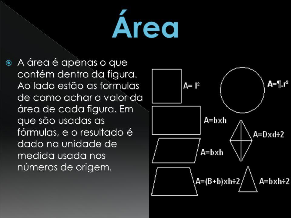 A área é apenas o que contém dentro da figura. Ao lado estão as formulas de como achar o valor da área de cada figura. Em que são usadas as fórmulas,