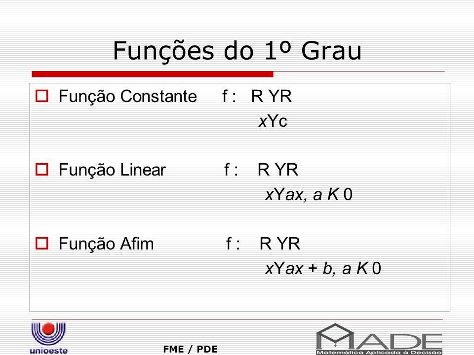 Funções do 1º Grau Função Constante f : R YR xYc Função Linear f : R YR xYax, a K 0 Função Afim f : R YR xYax + b, a K 0 FME / PDE