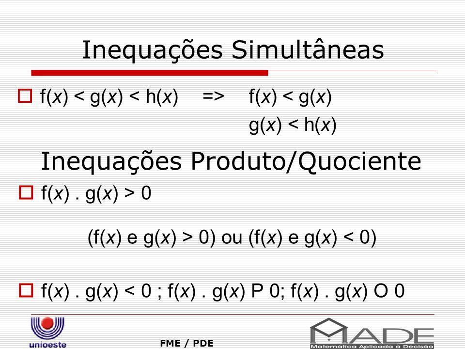 Inequações Simultâneas f(x) f(x) < g(x) g(x) < h(x) FME / PDE Inequações Produto/Quociente f(x). g(x) > 0 (f(x) e g(x) > 0) ou (f(x) e g(x) < 0) f(x).