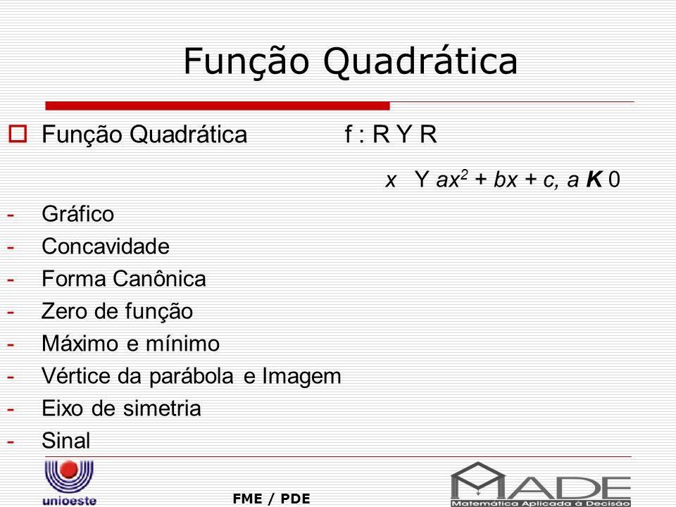 Função Quadrática FME / PDE Função Quadrática f : R Y R x Y ax 2 + bx + c, a K 0 -Gráfico -Concavidade -Forma Canônica -Zero de função -Máximo e mínim