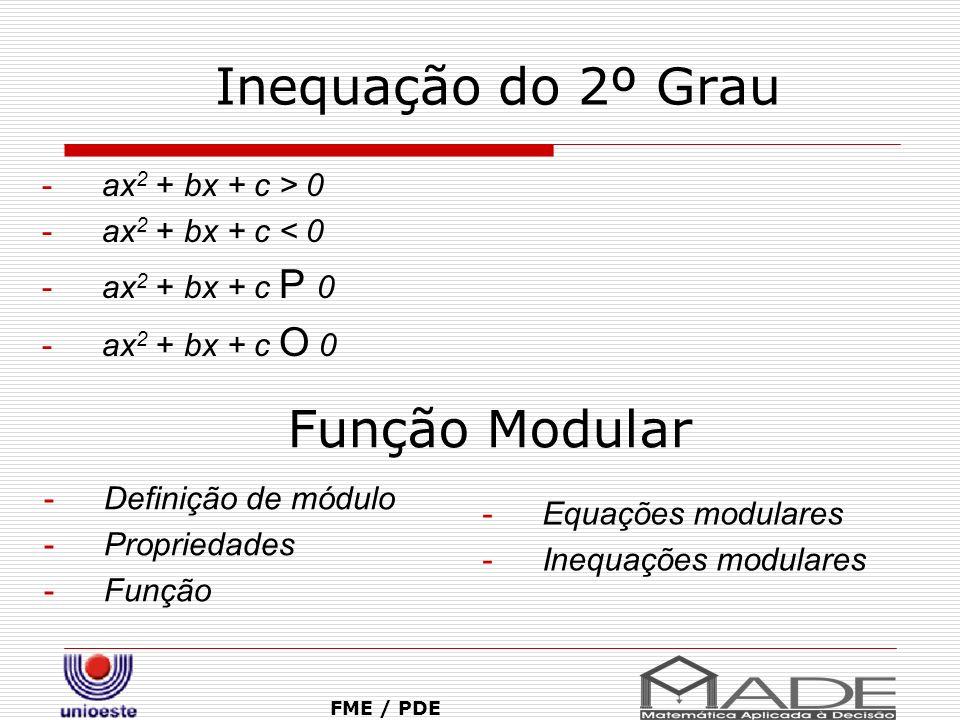 Inequação do 2º Grau FME / PDE -ax 2 + bx + c > 0 -ax 2 + bx + c < 0 -ax 2 + bx + c P 0 -ax 2 + bx + c O 0 Função Modular -Definição de módulo -Propri