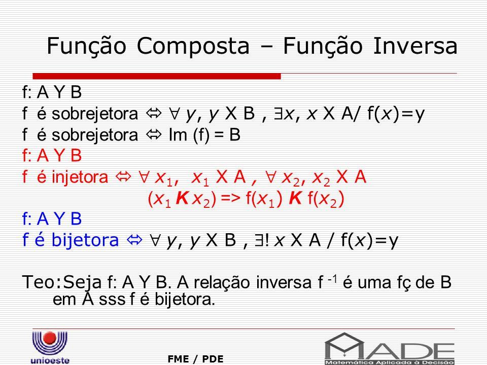 Função Composta – Função Inversa FME / PDE f: A Y B f é sobrejetora y, y X B, x, x X A/ f(x)=y f é sobrejetora Im (f) = B f: A Y B f é injetora x 1, x