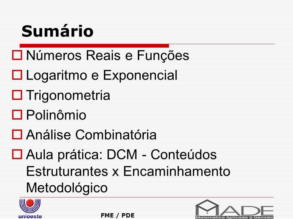 Função Exponencial FME / PDE DEF.: Dado um número real a, tal que a seja maior que zero e diferente de 1, diz-se função exponencial de base a a função f de R em R (conj dos reais) que associa a cada x real o número a x.
