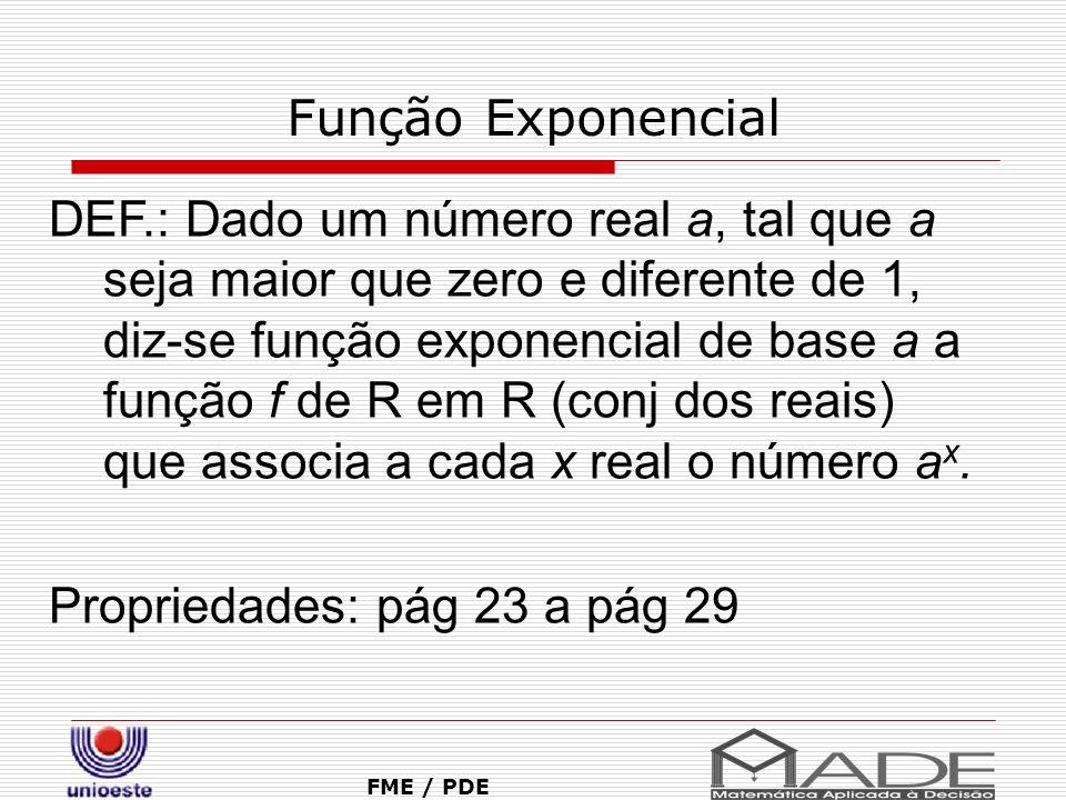 Função Exponencial FME / PDE DEF.: Dado um número real a, tal que a seja maior que zero e diferente de 1, diz-se função exponencial de base a a função