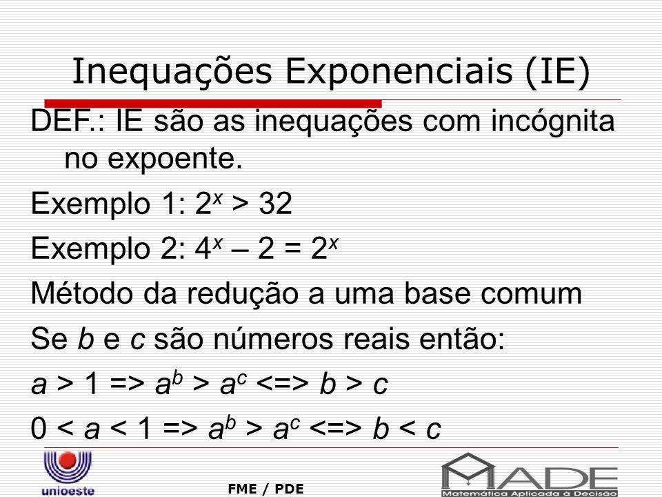 Inequações Exponenciais (IE) FME / PDE DEF.: IE são as inequações com incógnita no expoente. Exemplo 1: 2 x > 32 Exemplo 2: 4 x – 2 = 2 x Método da re