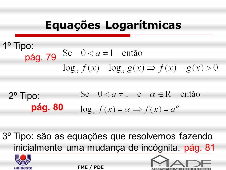 Equações Logarítmicas FME / PDE 1º Tipo: pág. 79 2º Tipo: pág. 80 3º Tipo: são as equações que resolvemos fazendo inicialmente uma mudança de incógnit