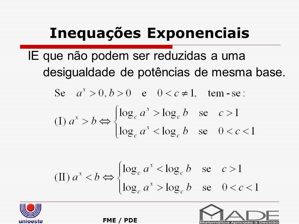 Inequações Exponenciais FME / PDE IE que não podem ser reduzidas a uma desigualdade de potências de mesma base.