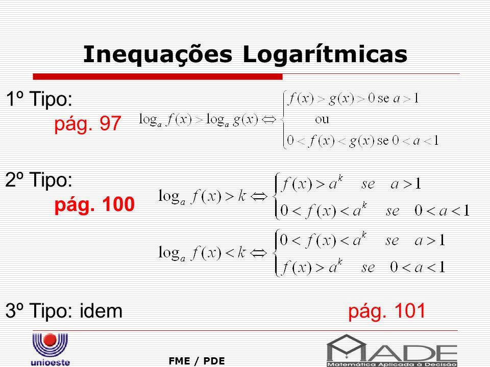 Inequações Logarítmicas FME / PDE 1º Tipo: pág. 97 2º Tipo: pág. 100 3º Tipo: idem pág. 101