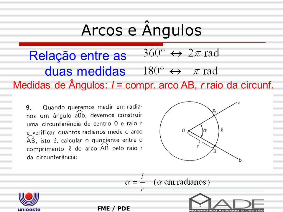 Arcos e Ângulos FME / PDE Relação entre as duas medidas Medidas de Ângulos: l = compr. arco AB, r raio da circunf.