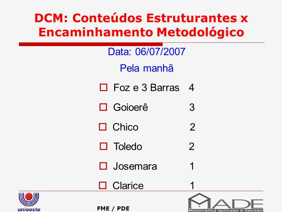 DCM: Conteúdos Estruturantes x Encaminhamento Metodológico FME / PDE Data: 06/07/2007 Pela manhã Foz e 3 Barras 4 Goioerê 3 Chico 2 Toledo 2 Josemara