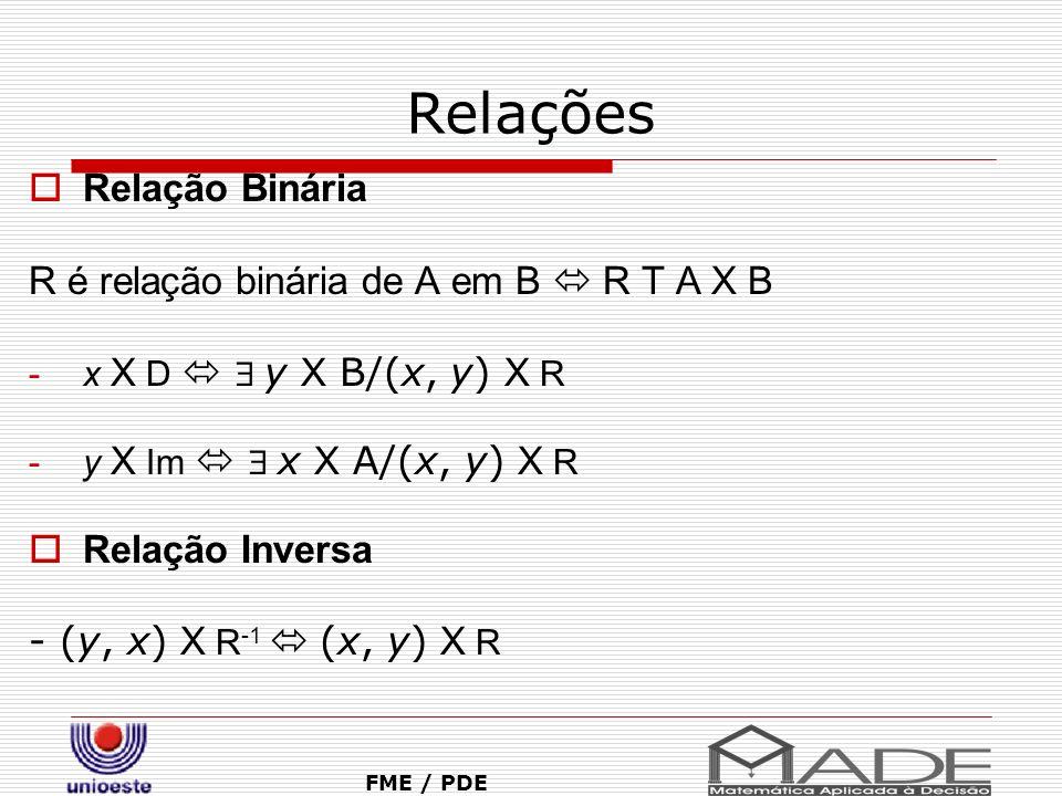 Relações Relação Binária R é relação binária de A em B R T A X B -x X D y X B/(x, y) X R -y X Im x X A/(x, y) X R Relação Inversa - (y, x) X R -1 (x,